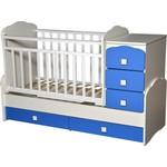 Купить Кровать-трансформер Антел ''Ульяна-1'' маятник фигурные спинки белый/голубой
