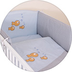 Постельное белье Ceba Baby 3 пр. Fishies blue-grey вышивка W-801-056-261