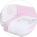 Постельное белье Ceba Baby 3 пр. Little Angel white-pink вышивка W-801-008-007