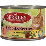 Berkley Kitten Menu Rabbit & Berries № 1 с кроликом и лесными ягодами для котят 200г (75150)