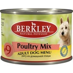 Купить Консервы Berkley Adult Dog Menu Poultry Mix № 9 рагу из домашней птицы для взрослых собак 200г (75005)