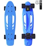 "RT 405-B Скейтборд Skateboard Fishbone с ручкой 22"" винил 56,6х15 с сумкой BLUE/black"