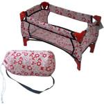 Купить 1Toy Кроватка для кукол, белая с красными цветами (Т57309)