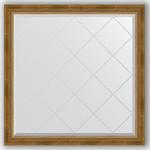 Купить Зеркало с гравировкой Evoform Exclusive-G 103x103 см, в багетной раме - состаренная бронза плетением 70 мм (BY 4434)