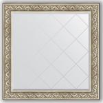 Купить Зеркало с гравировкой Evoform Exclusive-G 110x110 см, в багетной раме - барокко серебро 106 мм (BY 4467)