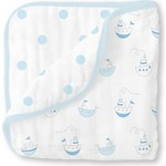 Одеяло муслиновое SwaddleDesigns Luxe Muslin Little Ships Blue (SDM-350PB)