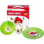 Купить Набор посуды для детей 3 предмета МФК-профит Angry Birds Зеленый (1057900)
