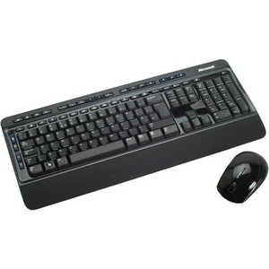 Клавиатура Microsoft Wireless Optical Desktop 3000 Black-Blue USB (MFC-00019) клавиатура dell kb522 wired business multimedia keyboard black usb 580 17683