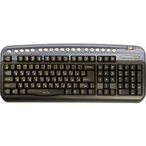 Oklick 320M Multimedia Keyboard Black-Blue USB+PS/2 + USB порт