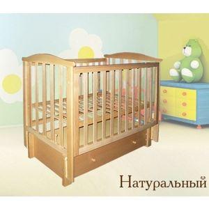 Кроватка Кубаньлесстрой Лютик продольный маятник/ящик (натуральный) АБ 15.3