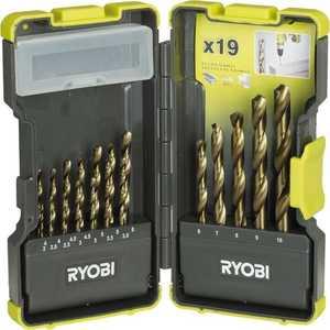 Набор сверл по металлу Ryobi 1.0-10.0мм 19шт (RAK19HSS) набор бит ryobi 28шт rak28sd 5132002250