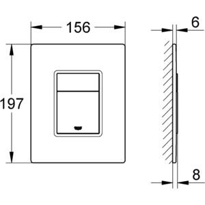 Клавиша смыва Grohe Skate Cosmopolitan стеклянная поверхность матовый белый (38845LS0) от ТЕХПОРТ