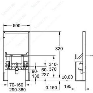 Инсталляция Grohe Rapid SL для биде высота 0.82 м усиленная (38583000) от ТЕХПОРТ