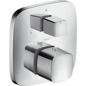 Термостат для ванны Hansgrohe Puravida с запорным вентилем (15771000) термостат для душа hansgrohe ecostat metris c запорным переключающим вентилем 31573000
