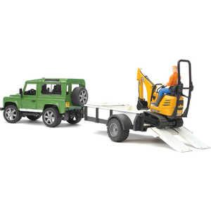 Внедорожник Bruder 1:16 Land Rover Defender c прицепом-платформой, гусеничным мини экскаватором 8010 CTS 02-593