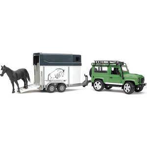 Внедорожник Bruder 1:16 Land Rover Defender с прицепом-коневозкой и лошадью 02-592