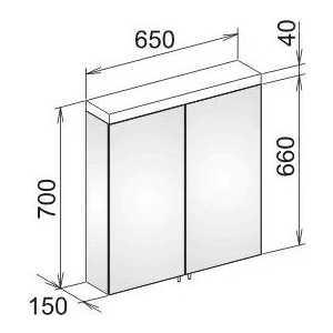 Зеркальный шкаф Keuco Royal reflex 2-х дверный 650х700х150 (24002171301) от ТЕХПОРТ