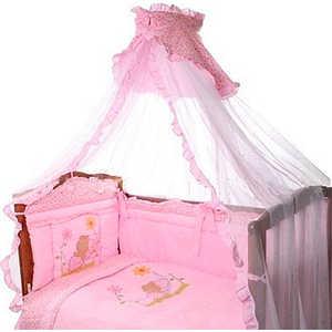 Комплект в кроватку Золотой гусь Сладкий сон 7 предметов (розовый) 1096