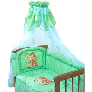 Комплект в кроватку Золотой гусь ''Алёнка'' 7 предметов (зелёный) 1014