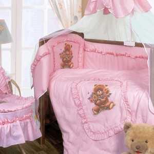 Комплект в кроватку Золотой гусь ''Алёнка'' 7 предметов (розовый) 1016
