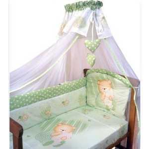 Комплект в кроватку Золотой гусь ''Мишутка'' 7 предметов (зелёный) 1904