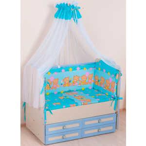 Комплект в кроватку Сдобина ''Обруч'' 6 предметов (голубой) холлофайбер 59.2