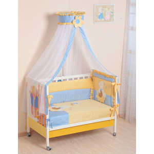Комплект в кроватку Сдобина Пасечник 7 предметов (голубой) холлофайбер 64 наволочка 40х60 2 шт begal наволочка 40х60 2 шт