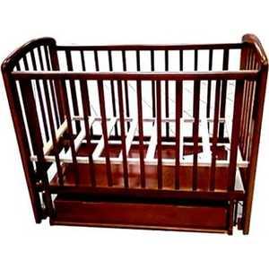 Кроватка Счастливый малыш ''Кроха-2'' поперечный маятник/ящик/автоспинка/накладка пвх (орех с оттенением) (014 009)