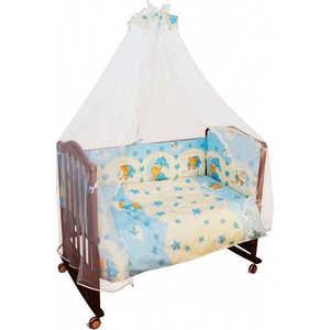 Комплект в кроватку Сонный Гномик Мишкин сон 7 предметов (голубой) 703/1 mercury постельные принадлежности набор 4 штуки простыня с набивной чехол на одеяло 100% хлопок