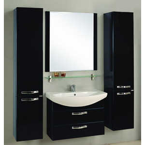 Комплект мебели Акватон Ария 80 м чёрный глянец/тёмно-коричневая  комплект мебели акватон ария 65 н тёмно коричневая