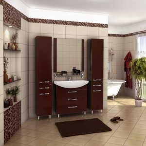 Комплект мебели Акватон Ария 80 н чёрный глянец/тёмно-коричневая кулер для процессора ice hammer ih 1200 htpc ih 1200 htpc