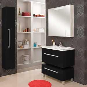Комплект мебели Акватон Мадрид 80 чёрный глянец акватон мебель для ванной акватон минима