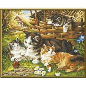 Фотография товара раскраска по номерам Schipper ''Семейство кошачьих'' 9130361 (158796)