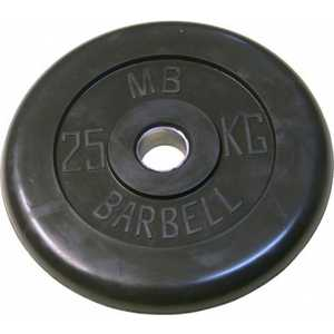 Диск обрезиненный MB Barbell 26 мм 25 кг черный ''Стандарт''