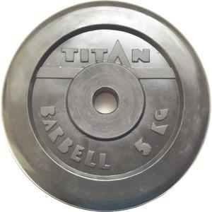 Диск обрезиненный Titan 26 мм 5 кг черный диск обрезиненный star fit bb 201 d 26 мм стальная втулка 15кг