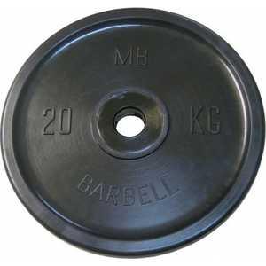 Диск обрезиненный MB Barbell 51 мм 20 кг черный Евро-Классик (Олимпийский) диск обрезиненный star fit bb 201 d 26 мм стальная втулка 15кг