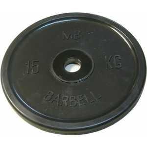 Диск обрезиненный MB Barbell 51 мм 15 кг черный Евро-Классик (Олимпийский) диск обрезиненный mb barbell 51 мм 25 кг красный евро классик олимпийский