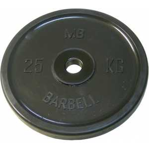 Диск обрезиненный MB Barbell 51 мм 25 кг черный Евро-Классик (Олимпийский) блин крашенный черный d30мм bhpl101 d30 1 25 1 25 кг