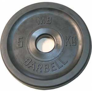 Диск обрезиненный MB Barbell 51 мм 5 кг черный Евро-Классик (Олимпийский)