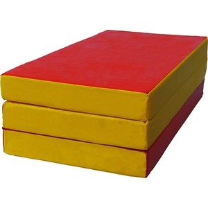 Мат складной КМС номер 4 (100x150x10см) красный/жёлтый