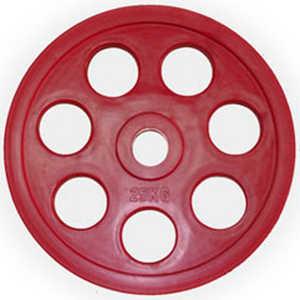 Диск обрезиненный Евро-Классик 51 мм 25 кг красный с хватом Ромашка (Олимпийский) диск обрезиненный mb barbell 51 мм 25 кг красный евро классик олимпийский