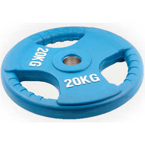Диск обрезиненный Евро-Классик 51 мм 20 кг синий с тройным хватом (Олимпийский)
