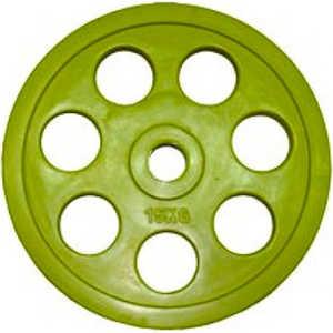Диск обрезиненный Евро-Классик 51 мм 15 кг желтый с хватом ''Ромашка'' (Олимпийский)