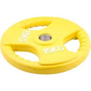 Диск обрезиненный Евро-Классик 51 мм 15 кг желтый с тройным хватом (Олимпийский)