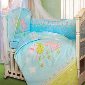 золотой гусь little friend 120х60 7 предметов Комплект постельного белья Золотой гусь Little Friend (голубой) 2062