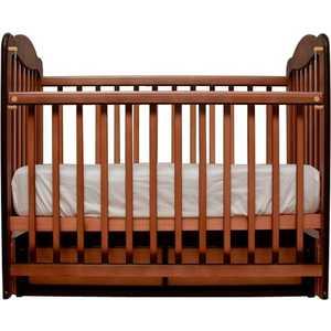 Кроватка Счастливый малыш ''Дюймовочка'' поперечный маятник (тёмный орех) 007
