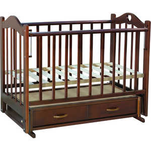 Кроватка Ведрусс ''Лана 3'' маятник (сердечко/темный орех)