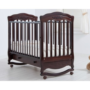 Кроватка Гандылян Шарлотта колеса/качалка/ящик махагон детская мебель