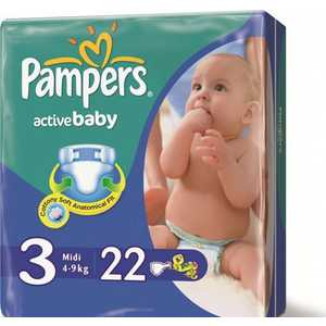"Подгузники Pampers ""Active Baby"" 4-9кг 22шт 4015600001674"