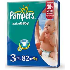 "Подгузники Pampers ""Active Baby"" 4-9кг 82шт 4015400265085"